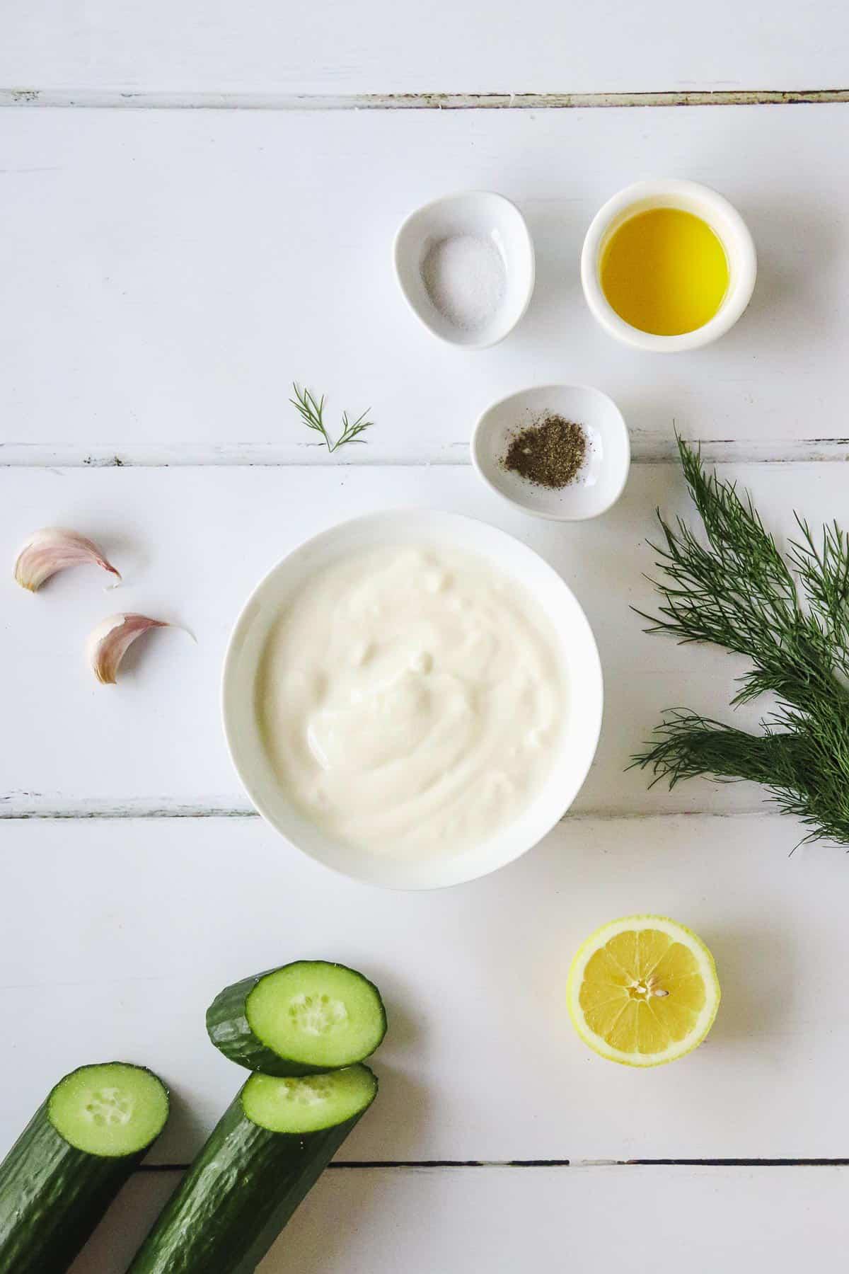 Ingredients to make vegan tzatziki