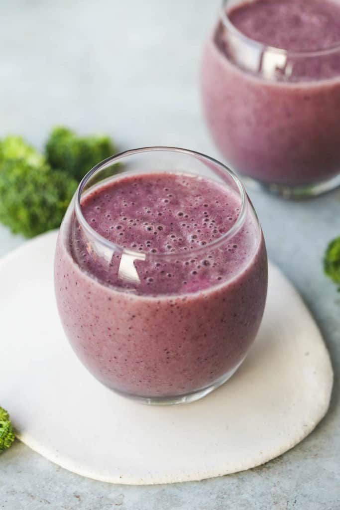Blueberry Broccoli Smoothie served in two glasses
