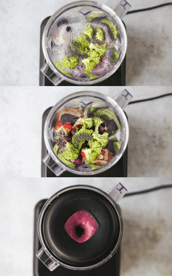 Smoothie making illustrated in three steps