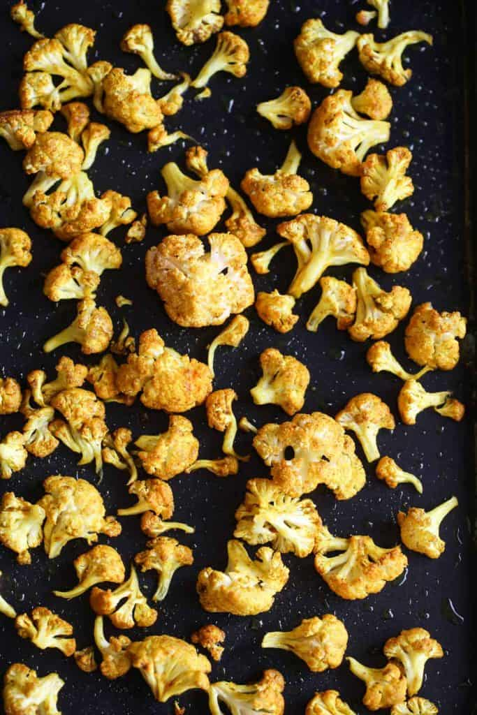 Roasted cauliflower florets for curried cauliflower soup