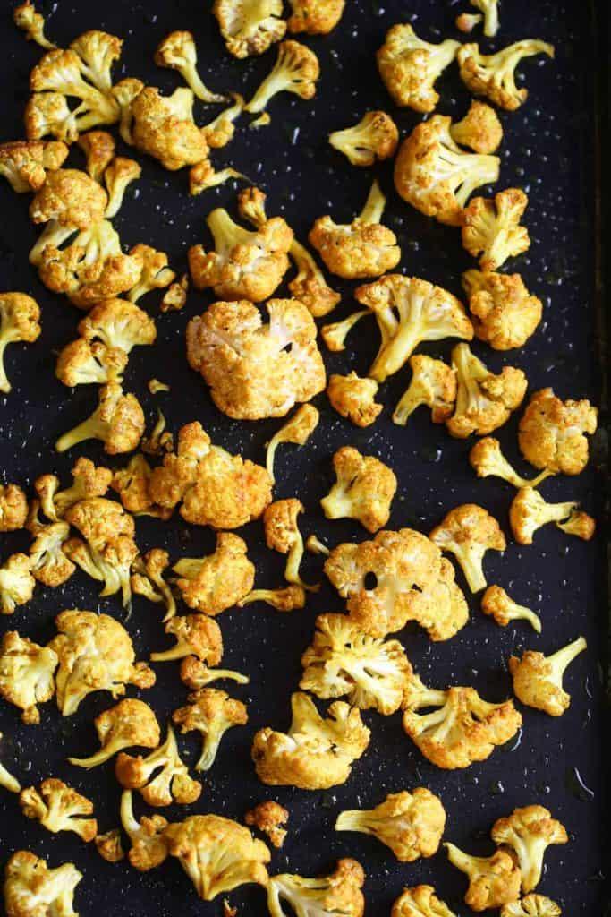 Roasted cauliflower florets for curried cauliflower soup