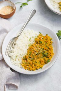 Lentil Dahl Recipe served with white rice