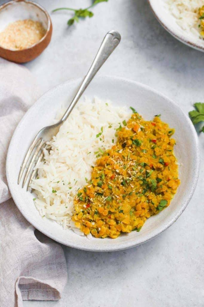 Lentil Dahl recipe served with Basmati rice