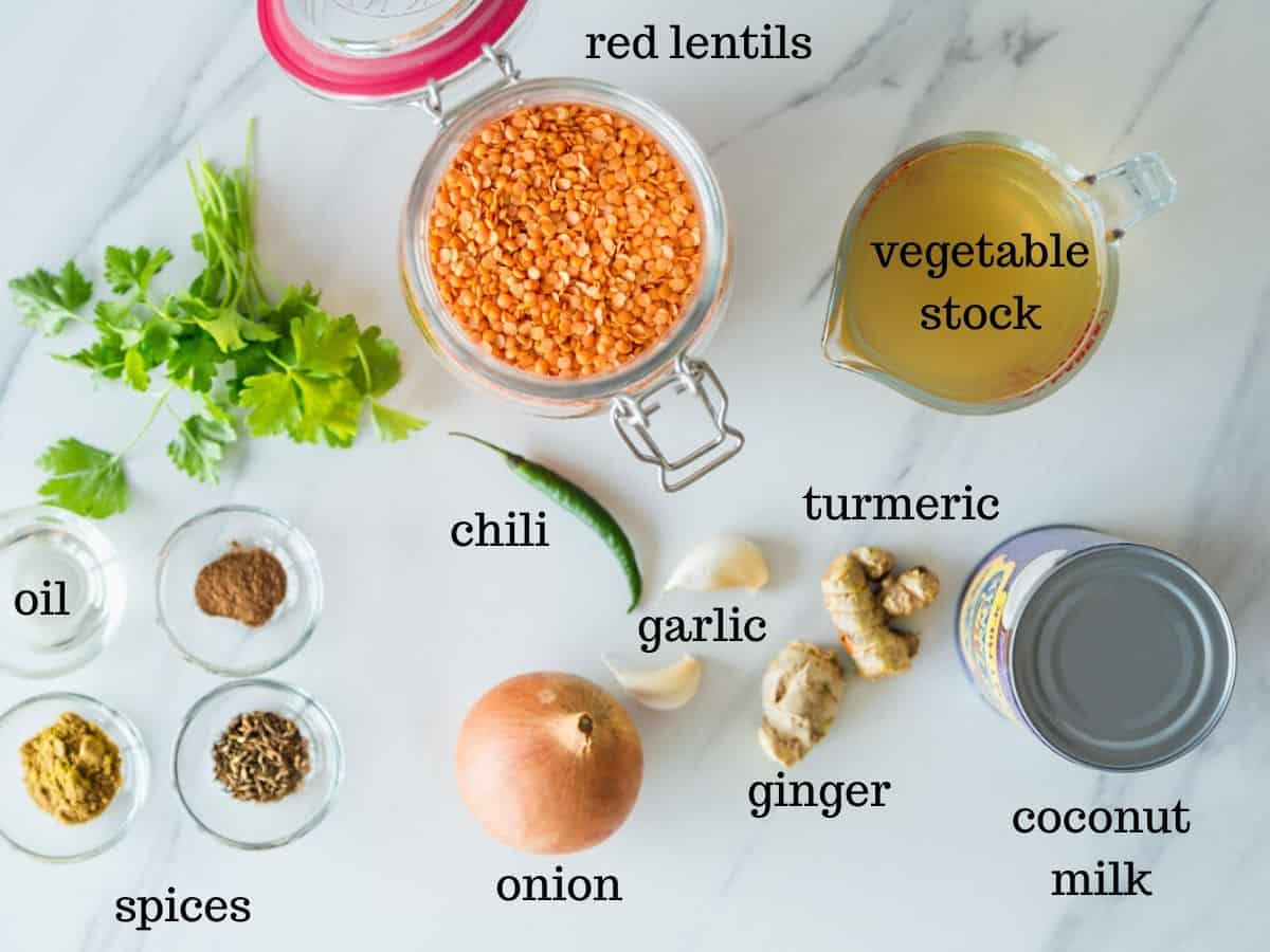 Lentil dhal ingredients