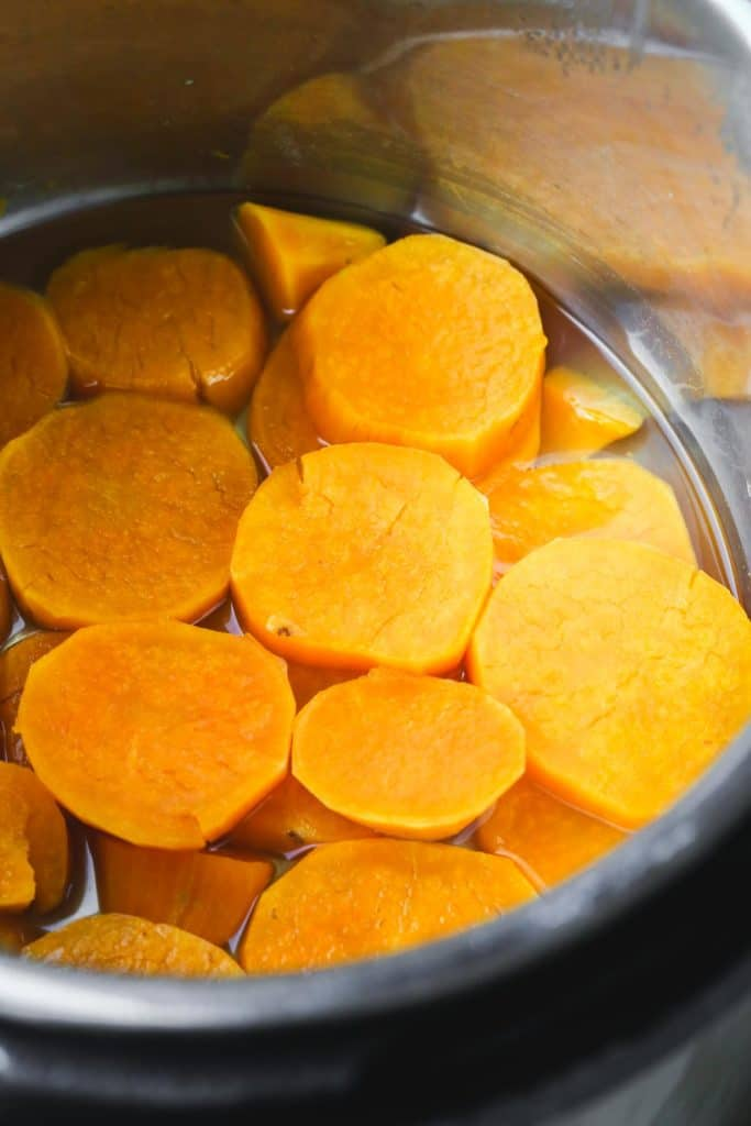 Cooked sweet potatoes in Instant Pot