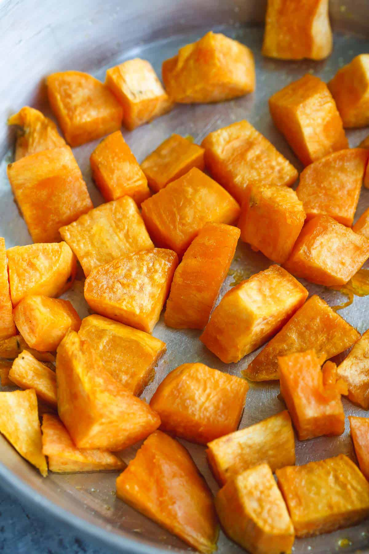 Cubed roasted sweet potato