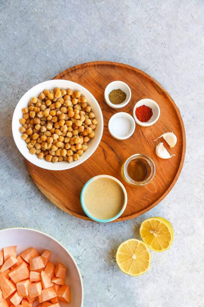 Roasted sweet potato hummus ingredients