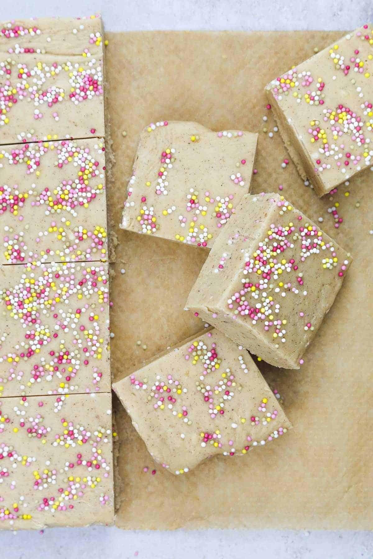 Condensed milk fudge cut into squares