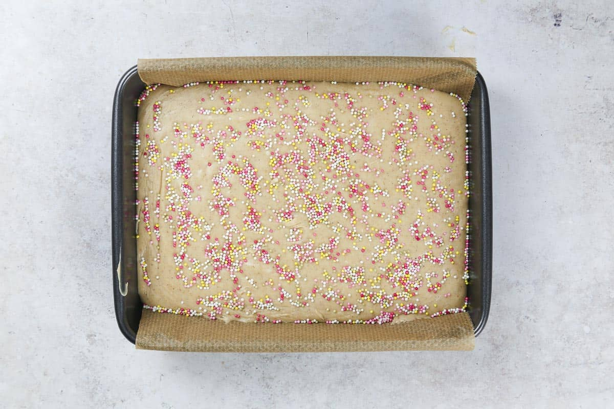 A baking pan with fudge