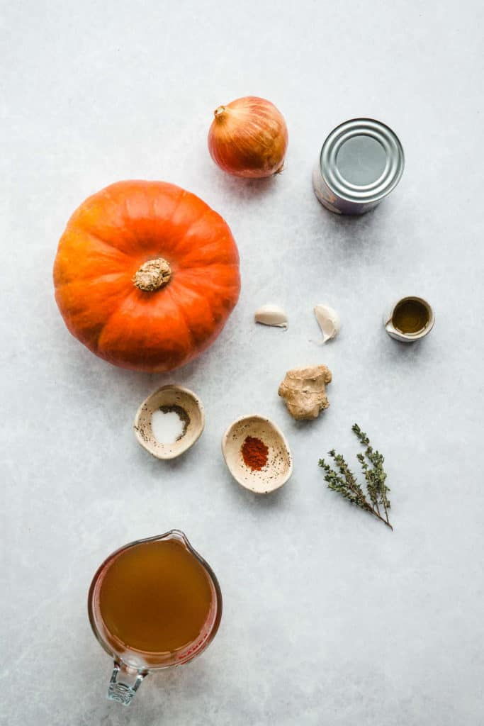 Ingredients needed to make Vegan Pumpkin Soup
