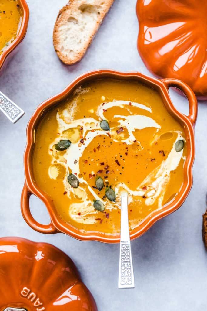 Vegan Pumpkin Soup in a Staub mini pumpkin cocotte