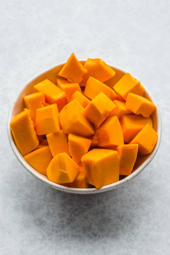 Pumpkin peeled and diced into cubes