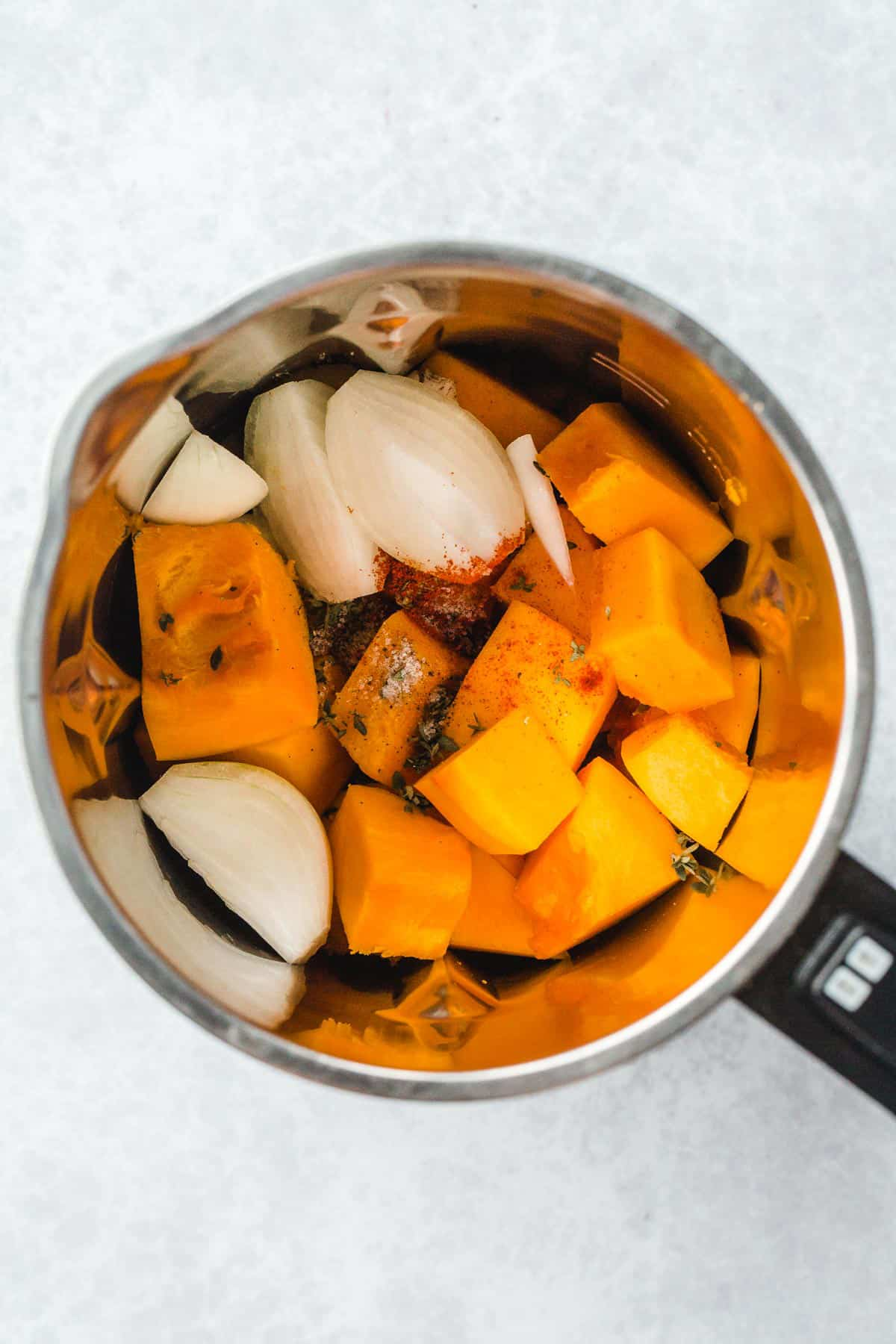 Vegan Pumpkin Soup ingredients in a soup maker