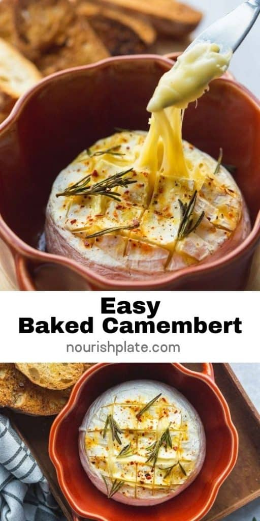 Pinnable image for baked camembert recipe
