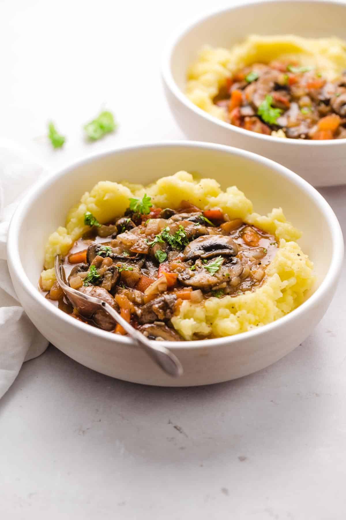 Mushroom Stew served with mashed potatoes