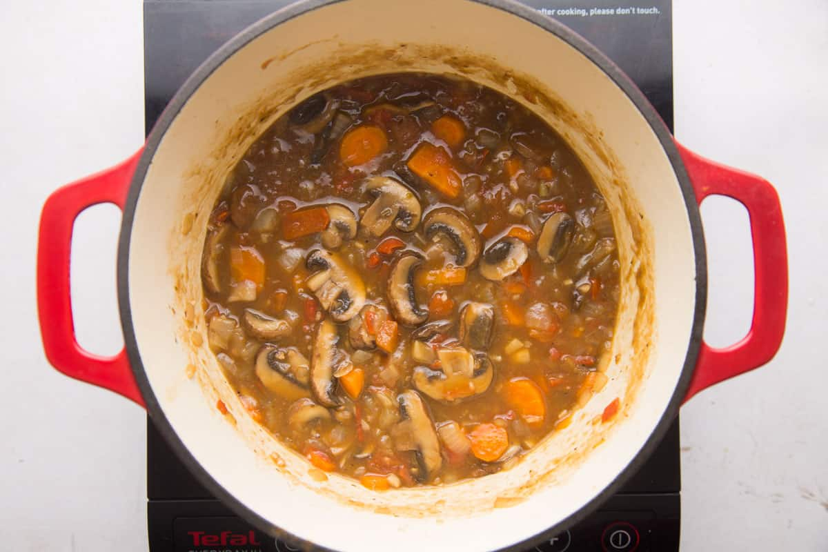 Mushroom Stew being cooked in a pot