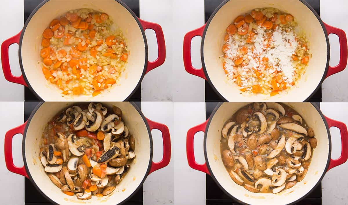 Step showing how to cook Mushroom Stew