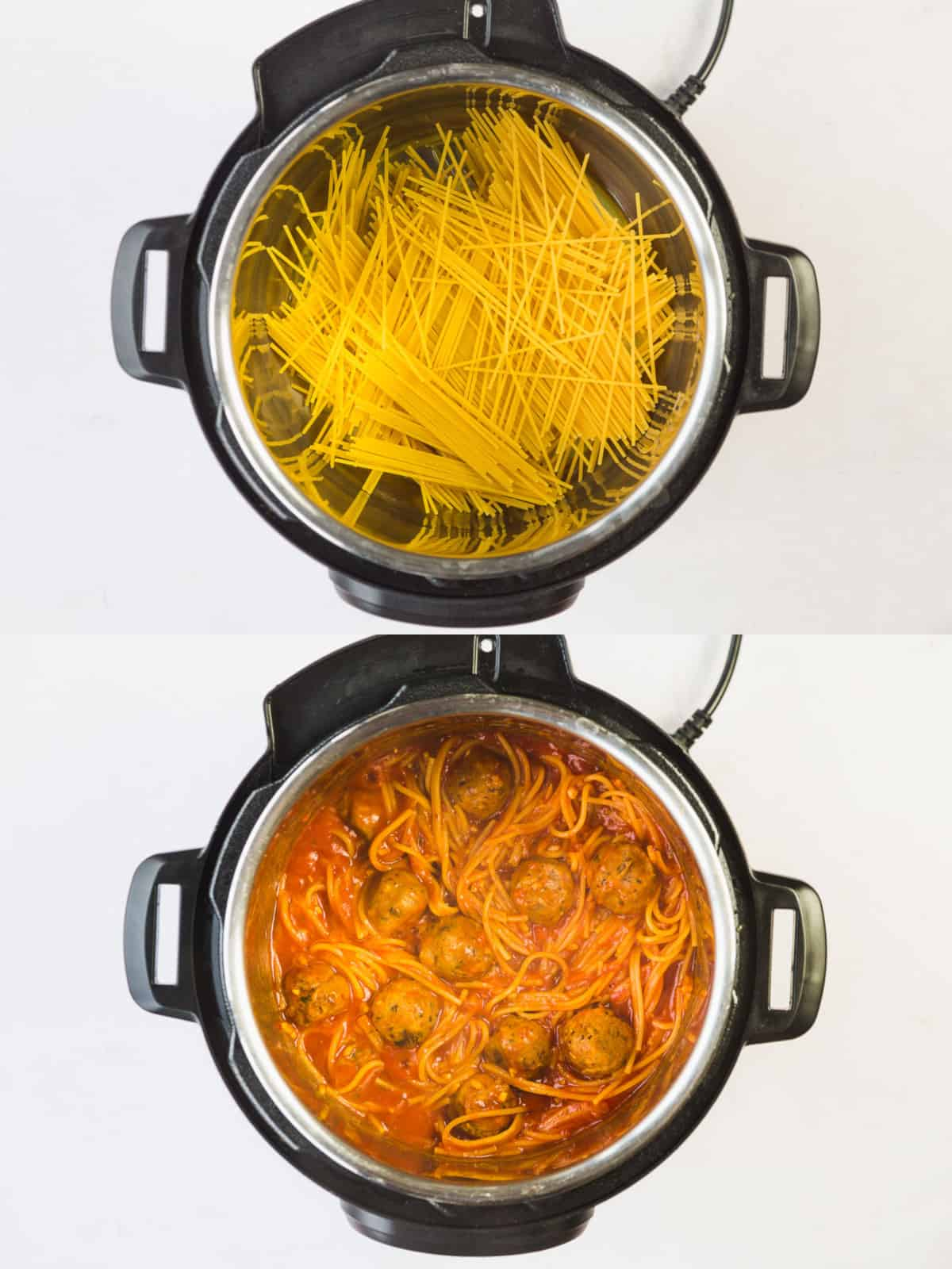 Two pictures showing how spaghetti looks after being cooked for this recipe