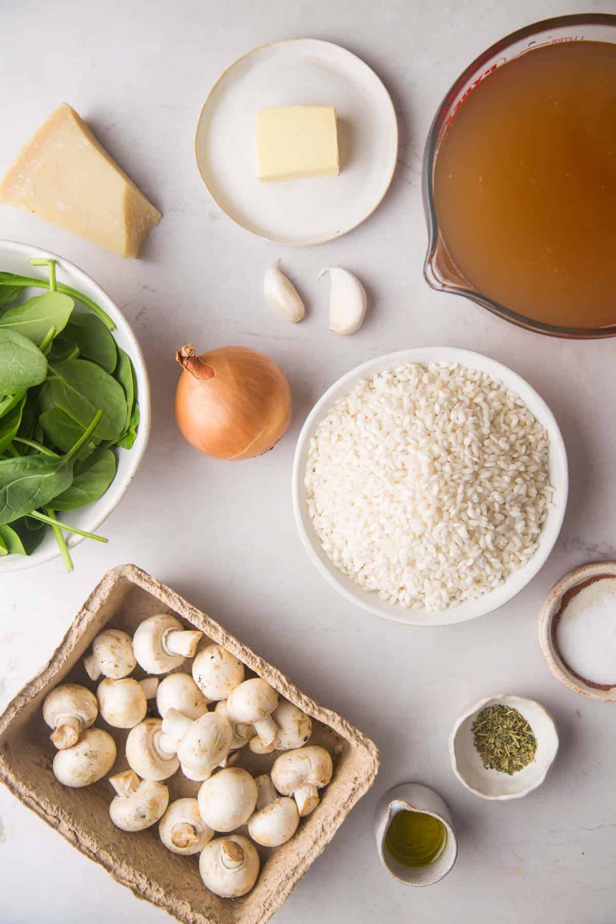 Instant Pot Mushroom Risotto ingredients