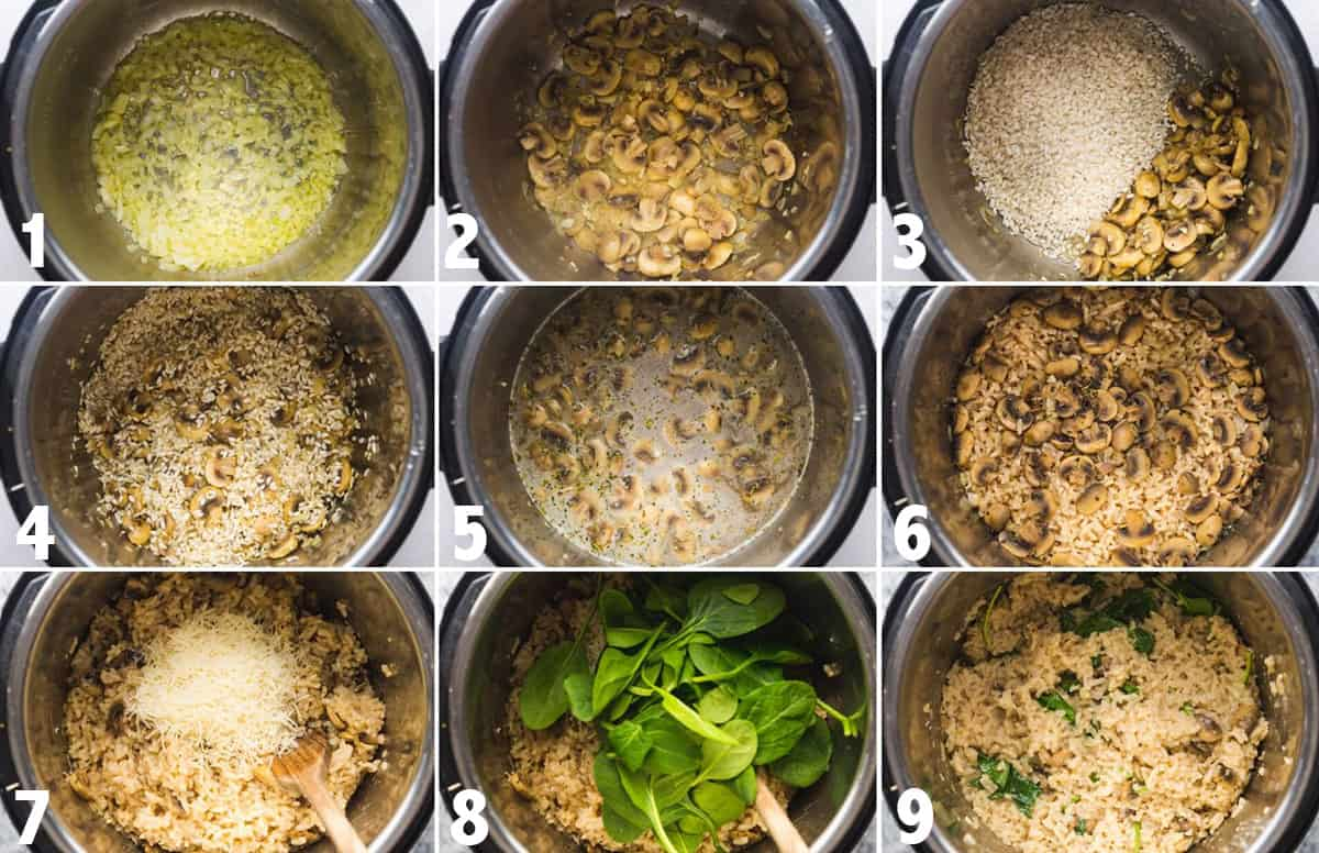 Steps showing how to make Instant Pot Mushroom Risotto