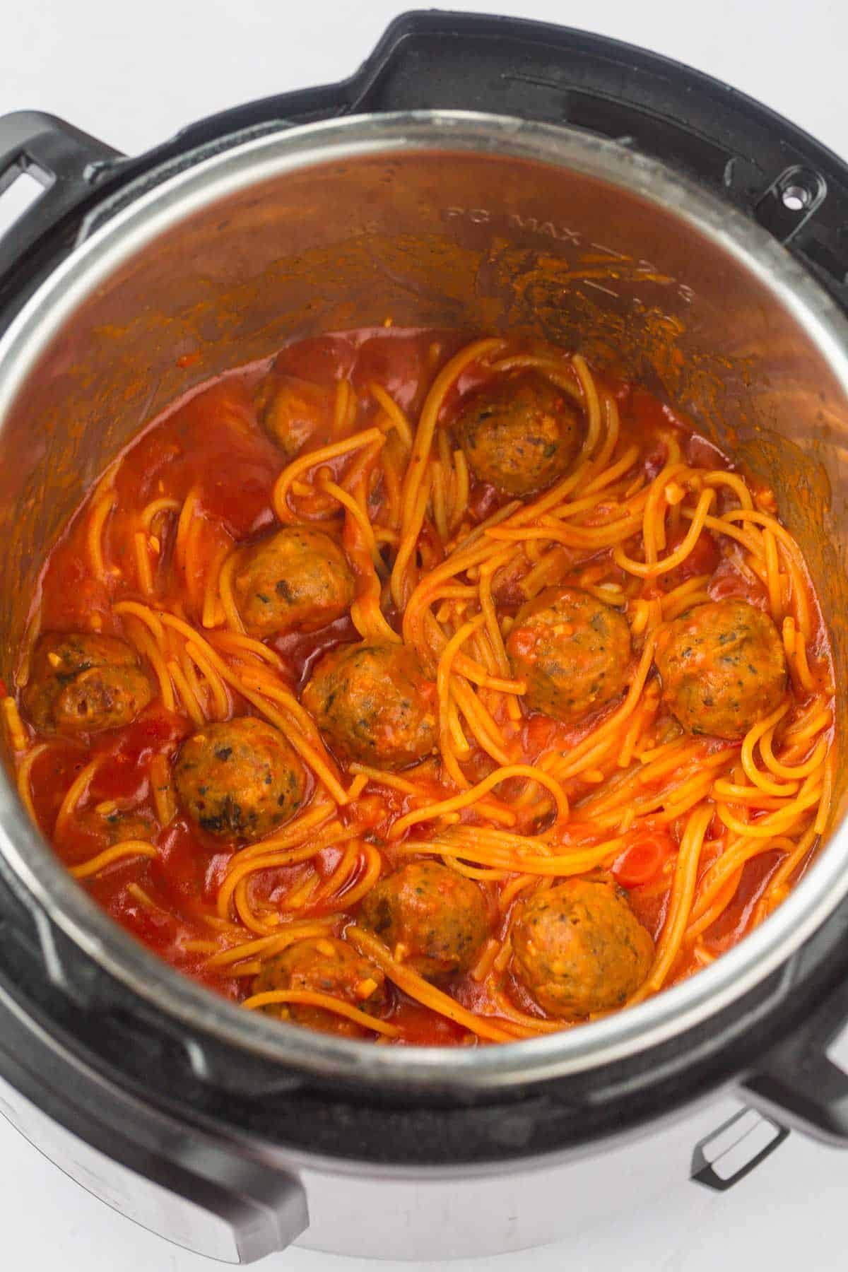 Cooked Spaghetti and meatballs in the Instant Pot