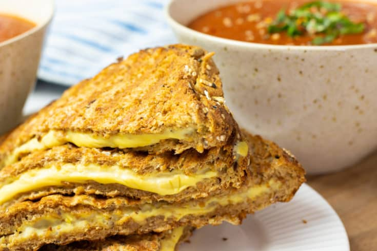 Instant Pot Tomato Soup with Vegan Grilled Cheese Sandwiches