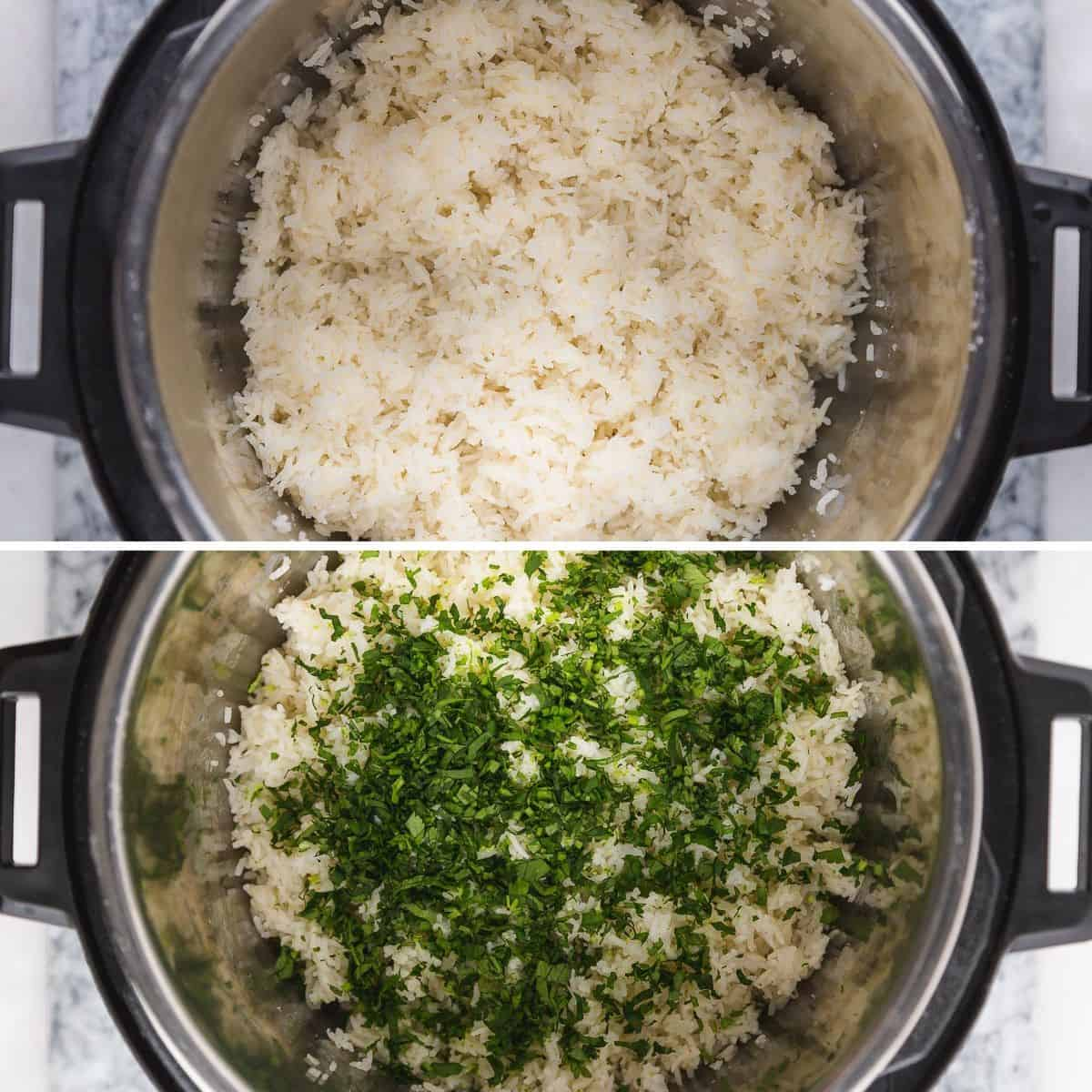 Steps showing how to make Cilantro Lime Rice in Instant Pot