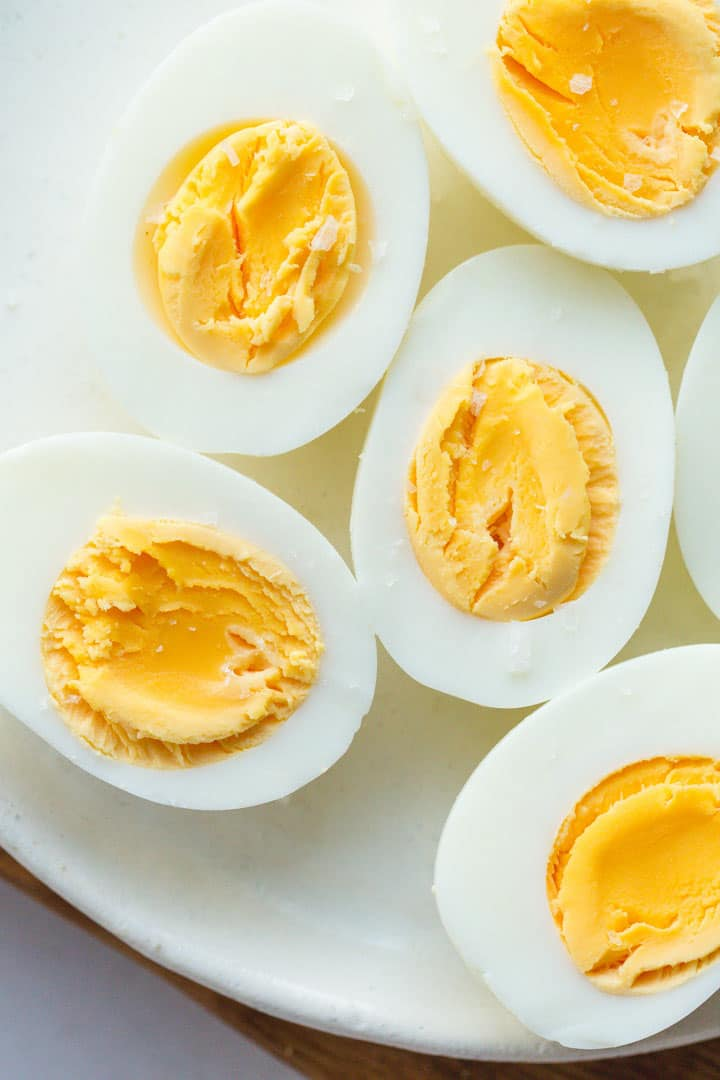 Perfectly cooked hard boiled eggs in the instant pot with sea salt flakes