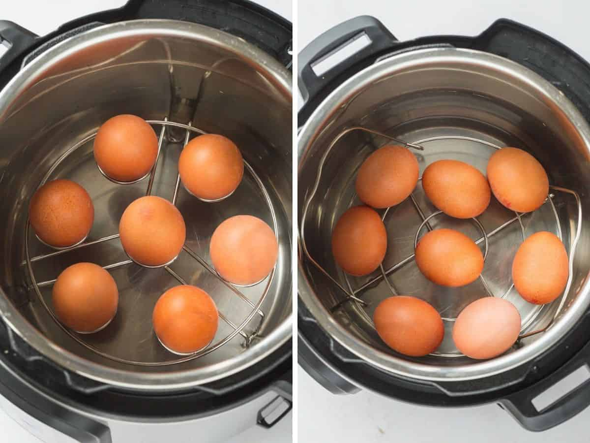 2 pictures of instant pot with trivet, and egg steamer rack, and eggs