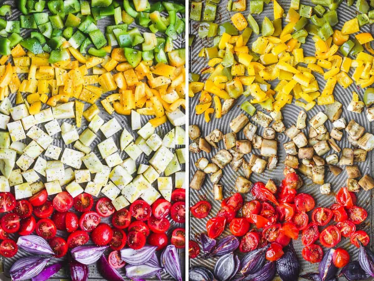 A rainbow of roasted vegetables for the salad