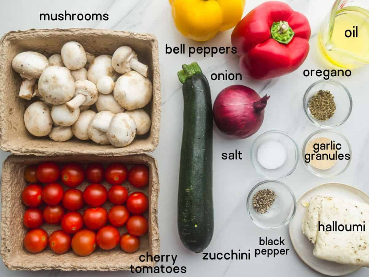 What you'll need to make veggie kabobs (the ingredients)