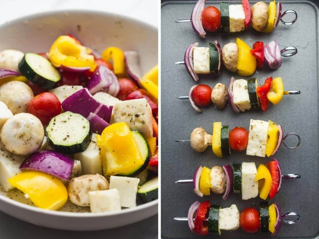 Marinated vegetables, and skewers with threaded veggies and halloumi