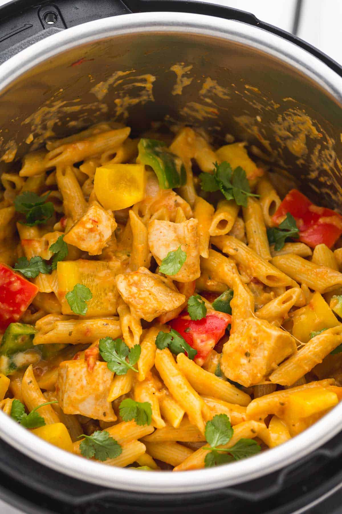 Chicken Fajita Pasta in the Instant Pot, garnished with cilantro leaves