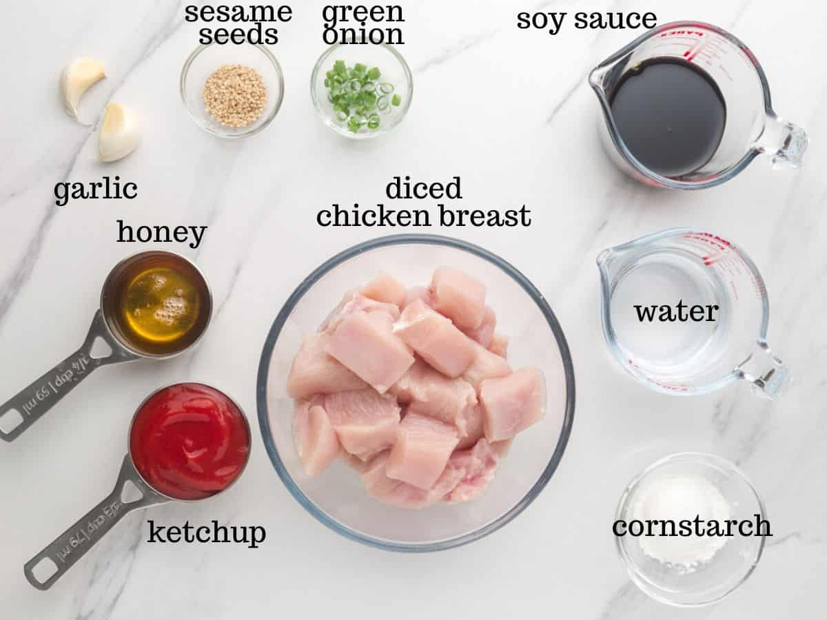 Ingredients for honey garlic chicken in the Instant Pot