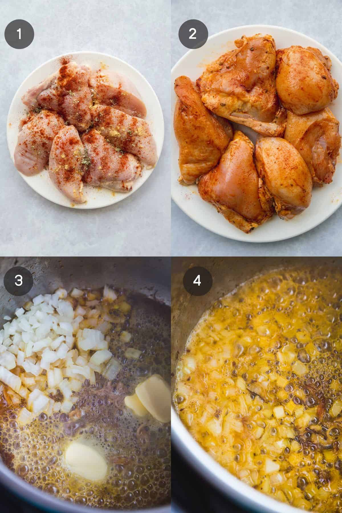Steps showing how to make lemon chicken in the Instant Pot