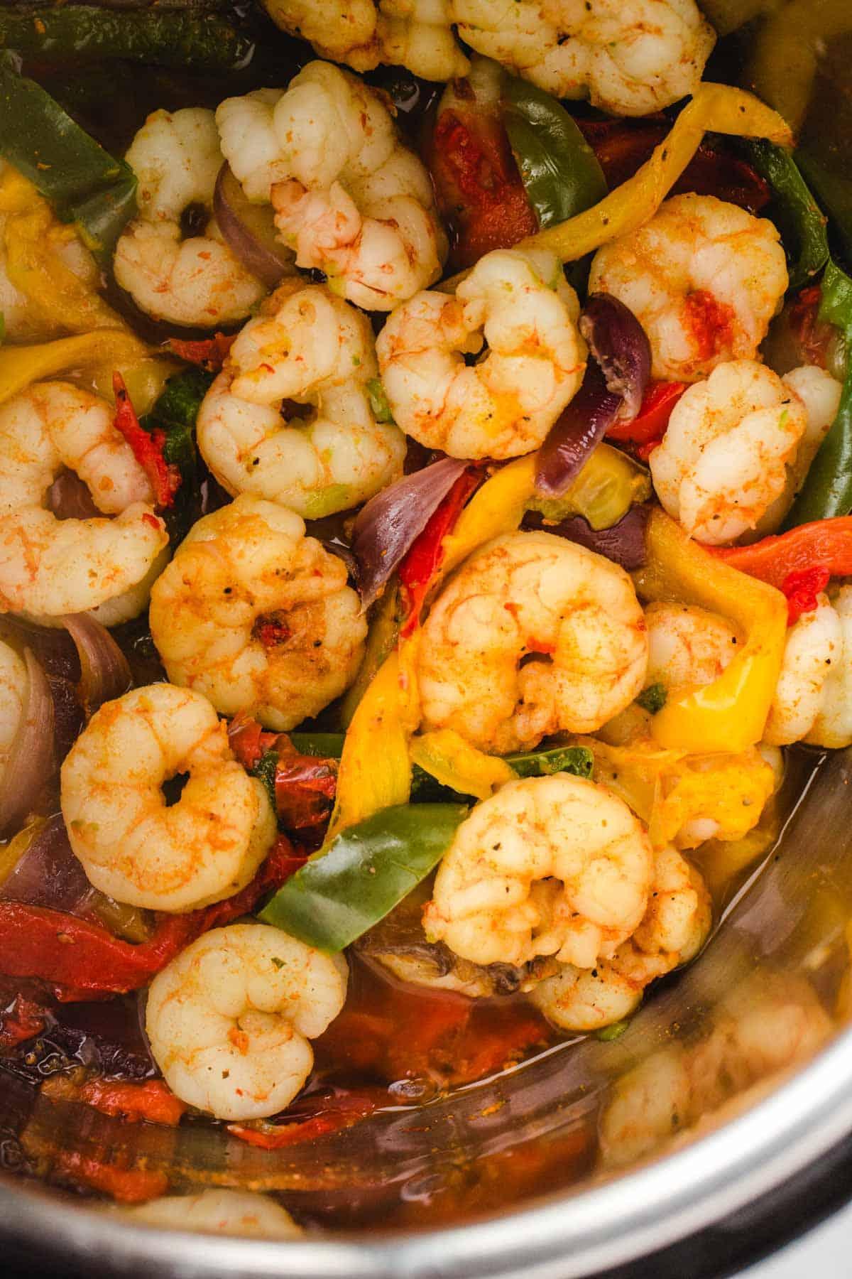 Close up of shrimp fajitas in the instant pot