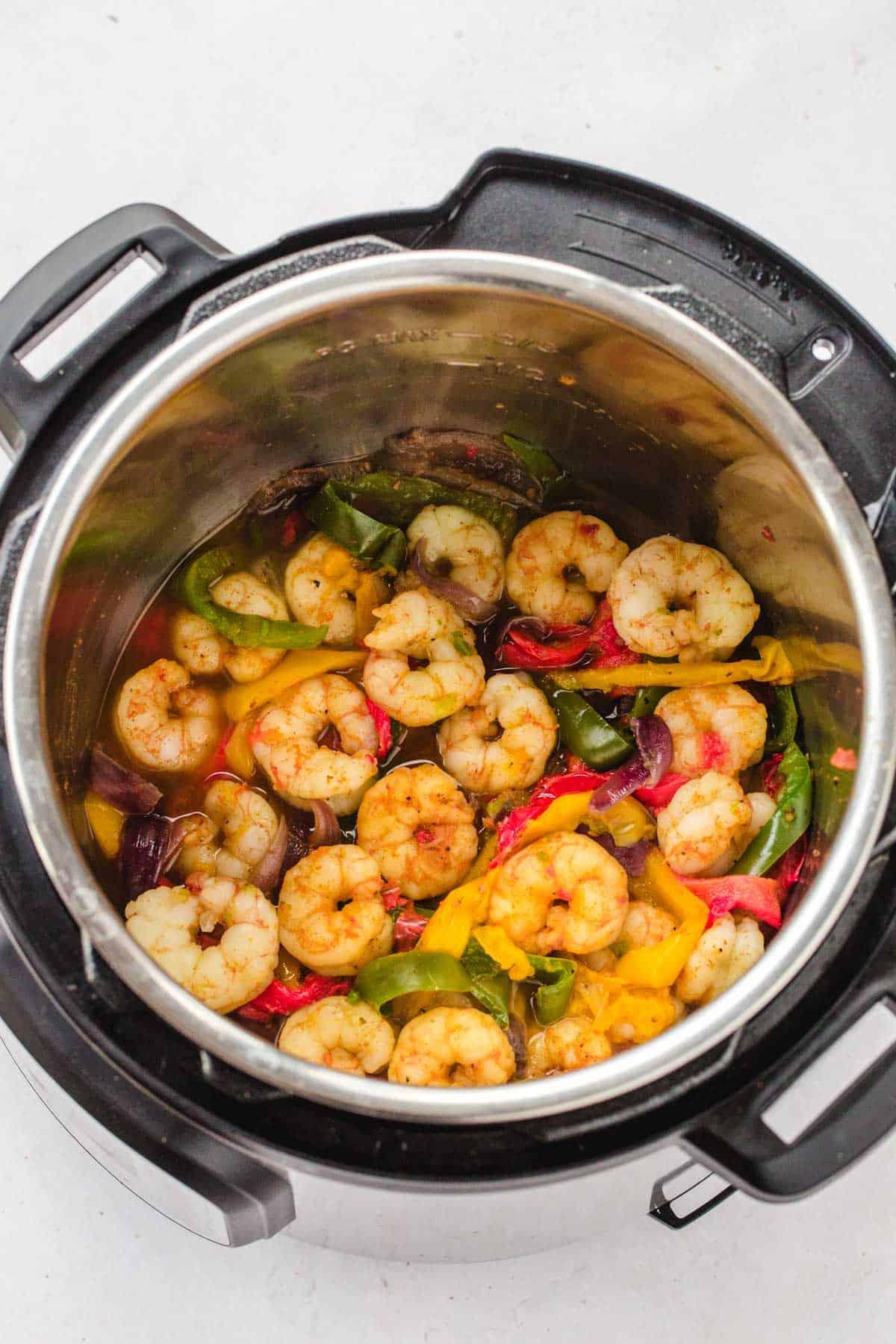 Shrimp fajitas in the Instant Pot