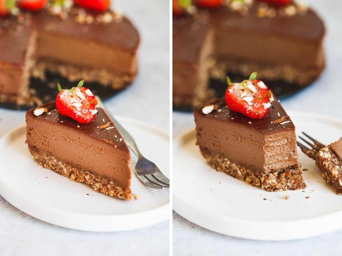 Slice of vegan chocolate cheesecake with a strawberry on top