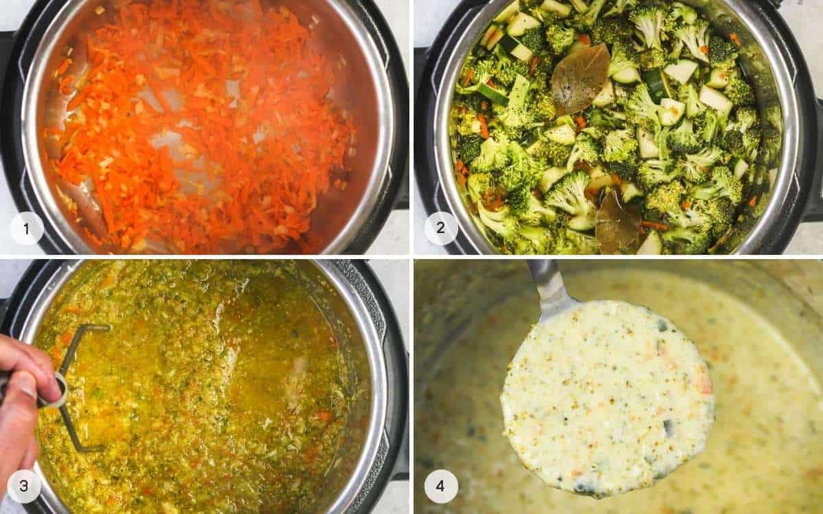 Steps illustrating how to make Instant Pot Broccoli Cheddar Soup - a collage with 4 images