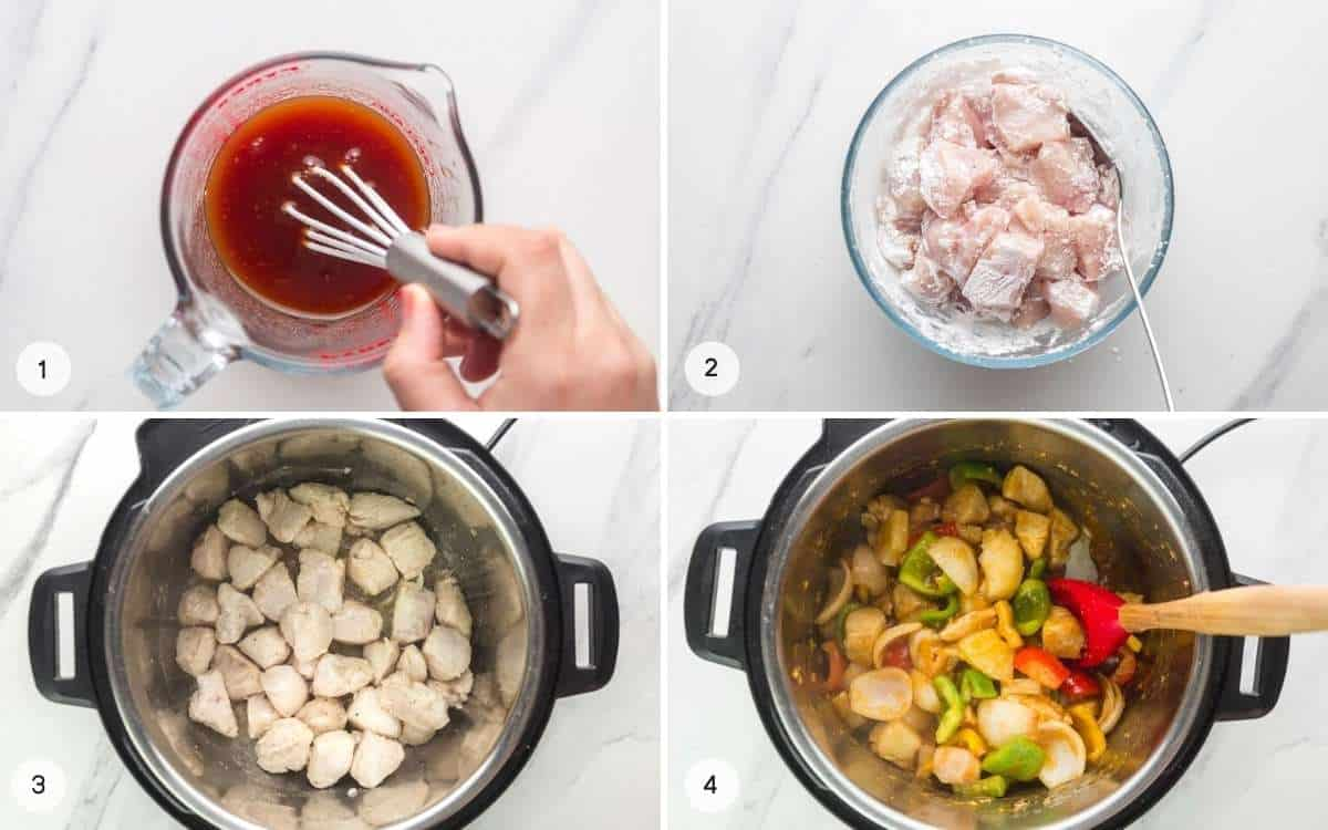 Steps showing how to make Sweet And Sour Chicken