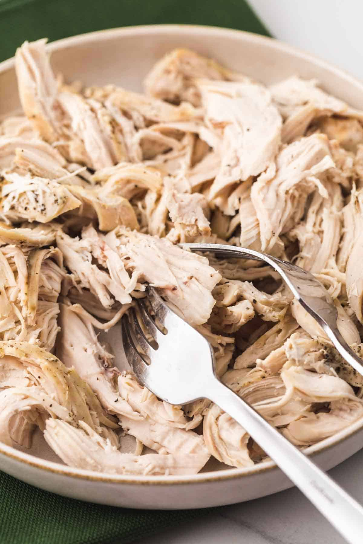 Shredded chicken on a white plate with 2 forks
