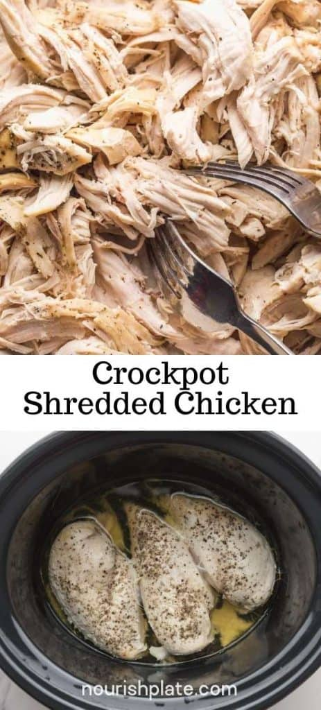 "Crockpot Shredded Chicken pin with overlay text ""crockpot shredded chicken"""