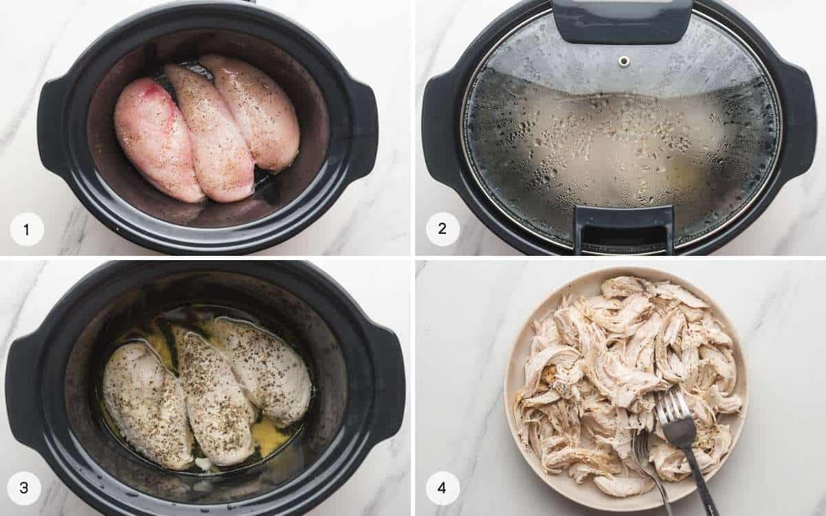 Steps how to cook shredded chicken in the crockoot