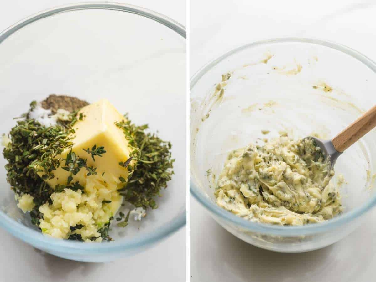 Making garlic herb butter