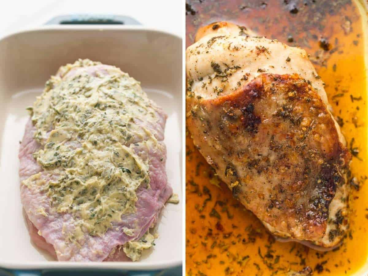 A collage with 2 images of turkey breast, before and after roasting