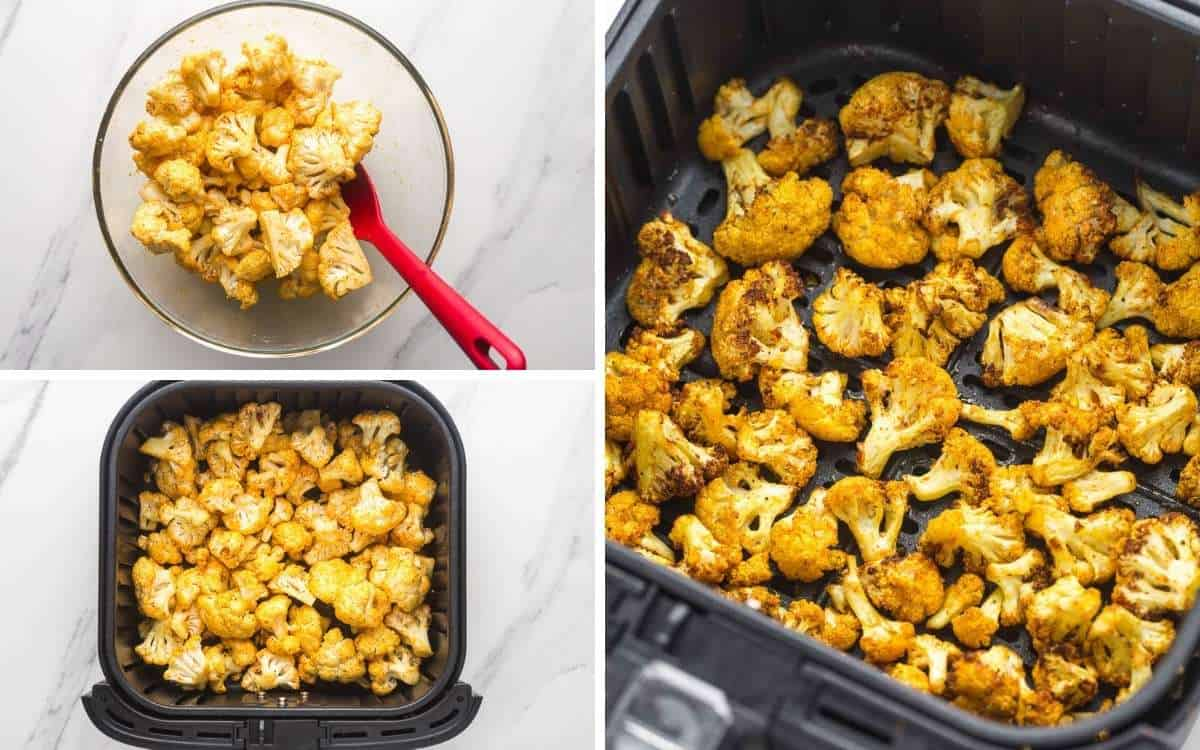 A collage with 3 images with steps how to make air fry cauliflower