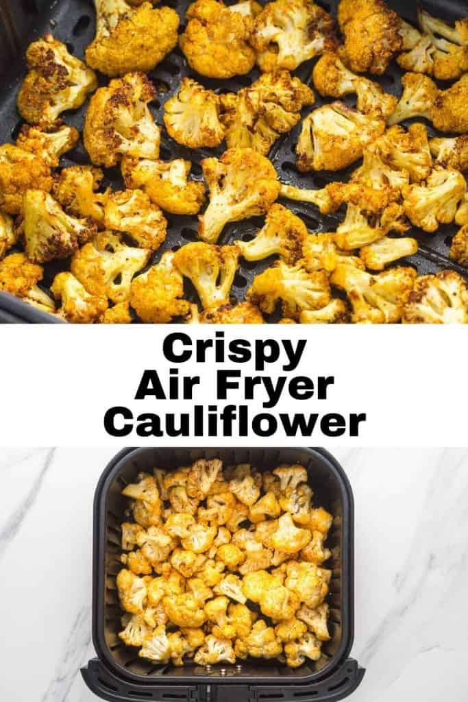 Air Fryer cauliflower pinnable image