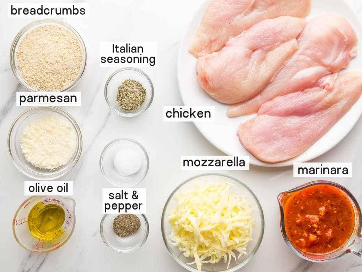 Ingredients needed to make chicken parmesan in the air fryer