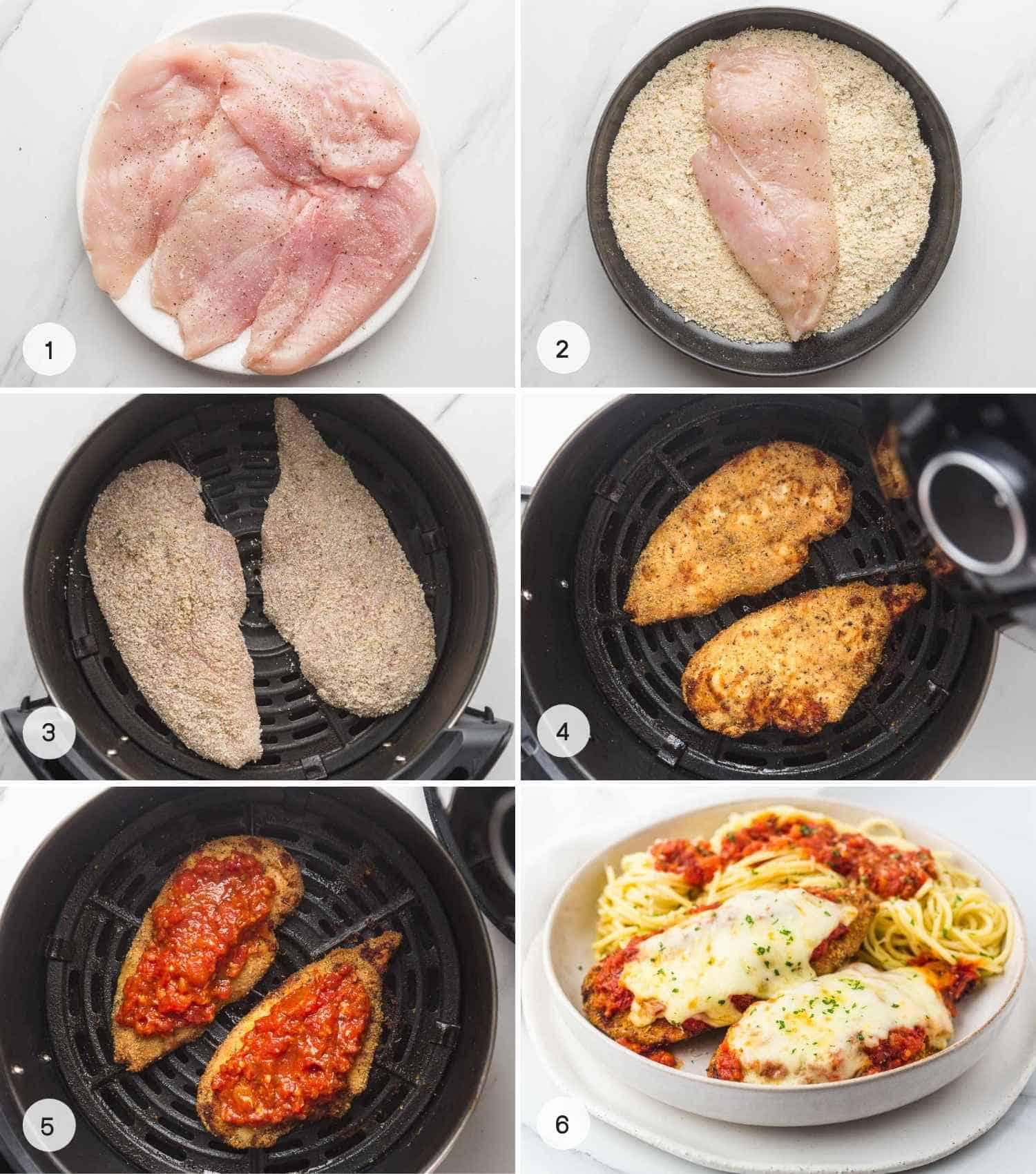 A collage with 6 images on how to make Air Fryer chicken parmesan