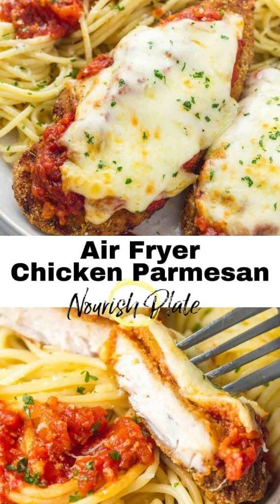Air Fryer chicken parmesan pinnable image